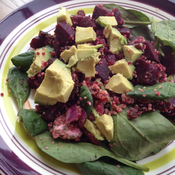 Beet, Avocado, Quinoa Spinach Salad