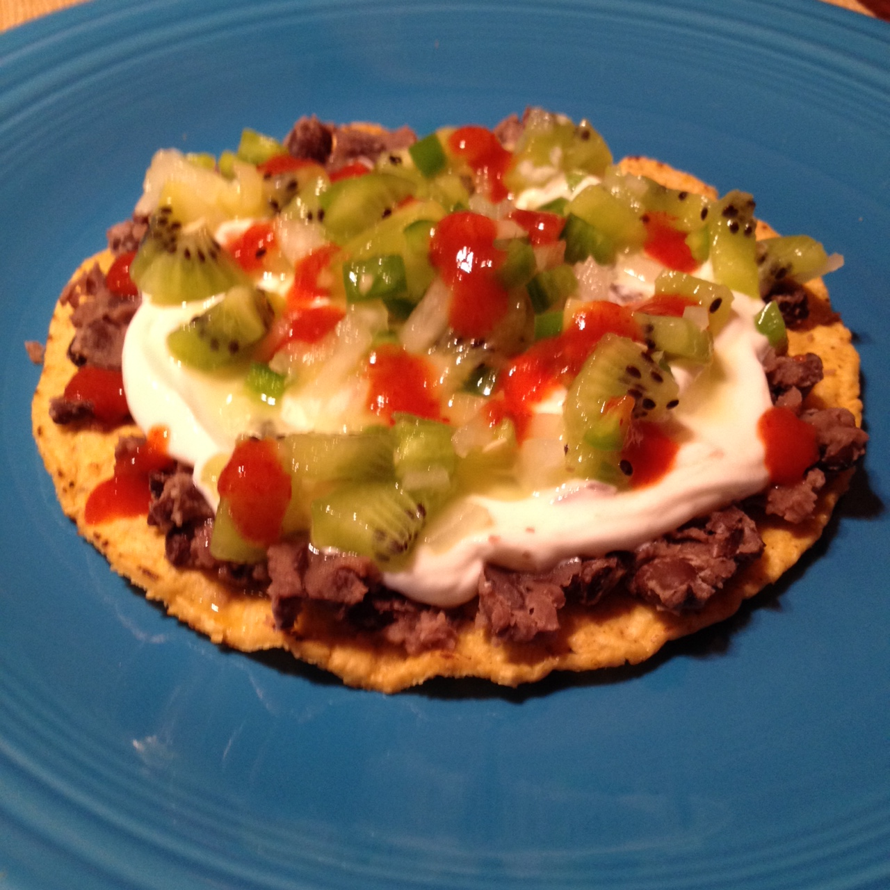 and avocado tostada breakfast tostada with guacamole black beans and ...
