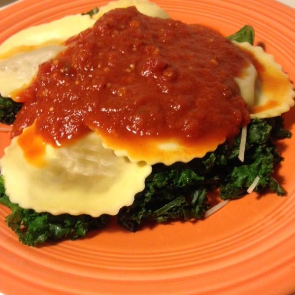 Mushroom Ravioli with Kale